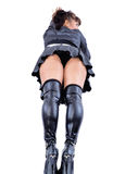 Sexy in black leather mini skirt and high heels Royalty Free Stock Photo