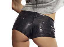 Sexy black leather short shorts Royalty Free Stock Photos