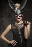 Sexy black rabbit Stock Images