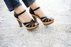 Sexy black sandals. Royalty Free Stock Images