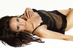 Sexy black stockings and lingerie Stock Images