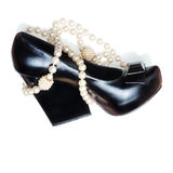 Sexy black woman shoe and pearl necklace Stock Image