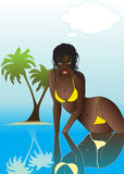Sexy black woman vector. She is a beautiful black woman who sit the warm ocean Stock Photos