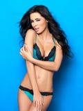 Sexy in Blauwe Lingerie Stock Afbeeldingen