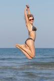 bloind in bikini on the beach Stock Image