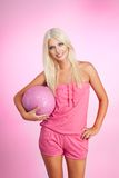 Sexy blond basketball player Stock Images