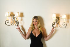 Sexy Blond in a Black Dress Royalty Free Stock Photography