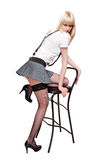 Sexy blond with chair Stock Images