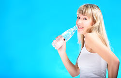 blond drink water from bottle Stock Images