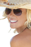 Blond Girl In Aviator Sunglasses & Cowboy Hat Stock Photos