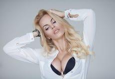 Sexy blond girl. Big boobs. Stock Photos
