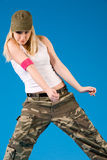 blond girl dancing Royalty Free Stock Image