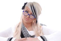 Sexy blond girl in glasses Royalty Free Stock Photo