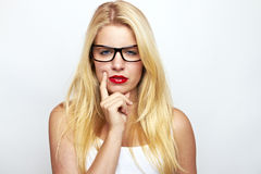 Sexy blond girl in glasses Stock Photo