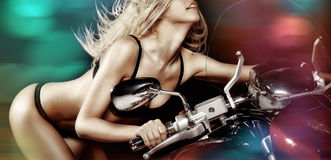 Sexy blond girl on motorcycle Royalty Free Stock Image