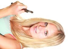 Sexy blond girl with spanner Stock Image