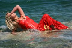 Sexy blond girl in water Royalty Free Stock Image