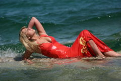 Sexy blond girl in water Stock Photo