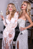Sexy blond girls in luxurious dresses, celebrating Christmas. Fashion interior photo of beautiful sexy women with blond hair wears luxurious dresses,holding Stock Images