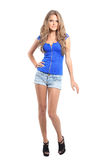 Sexy blond lady in blue dress isolated on white Stock Photos