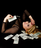 Sexy Blond laying with Cash Royalty Free Stock Image