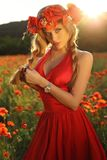 Sexy blond meisje in het elegante kleding stellen op de zomergebied van rode papavers Stock Afbeelding