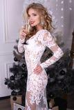 Sexy blond meisje in luxueuze kleding het drinken champagne stock fotografie