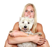 blond meisje met hond Stock Afbeelding