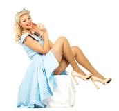 blond pin up style woman Royalty Free Stock Image