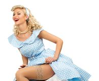 Sexy blond pin up woman Stock Image