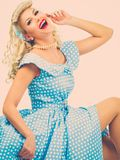 Sexy blond pin up woman Stock Photos