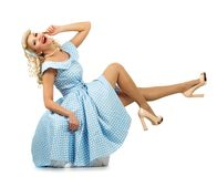 Sexy blond pin up woman Stock Photography