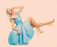 Sexy blond pin up woman Royalty Free Stock Photo