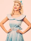 blond pin up woman royalty free stock photography