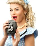 blond pin up young woman Royalty Free Stock Image