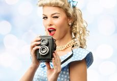 Sexy blond pin up young woman Royalty Free Stock Photo
