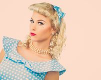 Sexy blond pin up young woman Royalty Free Stock Photos