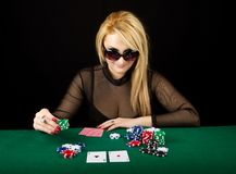 Sexy Blond Playing Poker Royalty Free Stock Photo