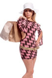 Blond Shopper royalty free stock images