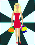 Sexy blond - shopping. Sexy blond in red dress with shopping bags Stock Images
