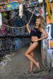 Sexy blond swimsuit model posing pretty wearing top and bikini bottom Royalty Free Stock Image