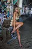 Sexy blond swimsuit model wearing bikini and jewelry posing pretty in front of graffiti background Royalty Free Stock Image