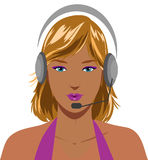 Sexy blond telephone operator. Beautiful sexy blond telephone operator with earphone, vector illustration Royalty Free Stock Image