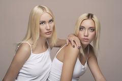 Sexy blond twins couple Stock Images