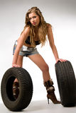 blond with two wheels Stock Photos