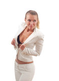 Sexy blond in a white suit Stock Photos
