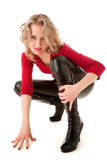 Sexy blond woman. In high shoes Royalty Free Stock Images