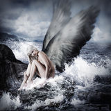 Sexy blond woman with angel wings Stock Photo