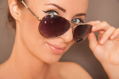 Sexy blond woman in aviators. Blond caucasian woman in aviator sunglasses Royalty Free Stock Photos