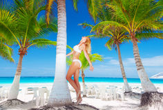blond woman on the beach stock photography